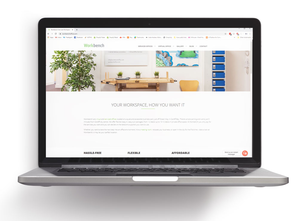 A website designed for a serviced office
